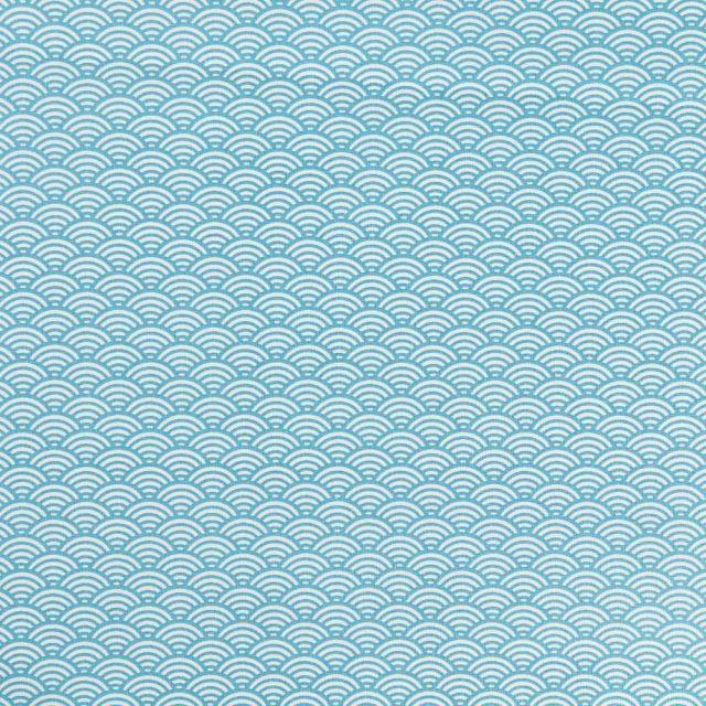 Tissu Coton Enduit Sushis Bleu turquoise - Par 10 cm