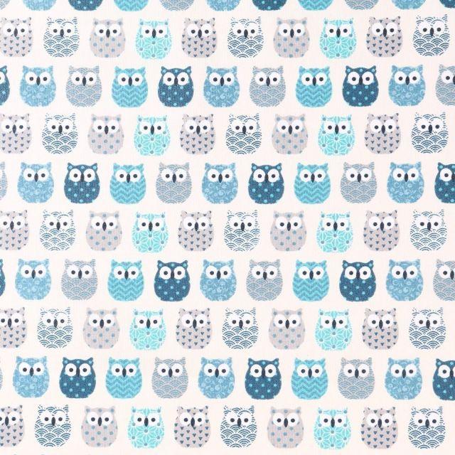 Tissu Coton Enduit Hiboux Bleus sur fond Ecru - Par 10 cm