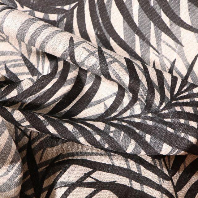 Tissu Lin d'ameublement Feuillages noires sur fond Naturel - Par 10 cm