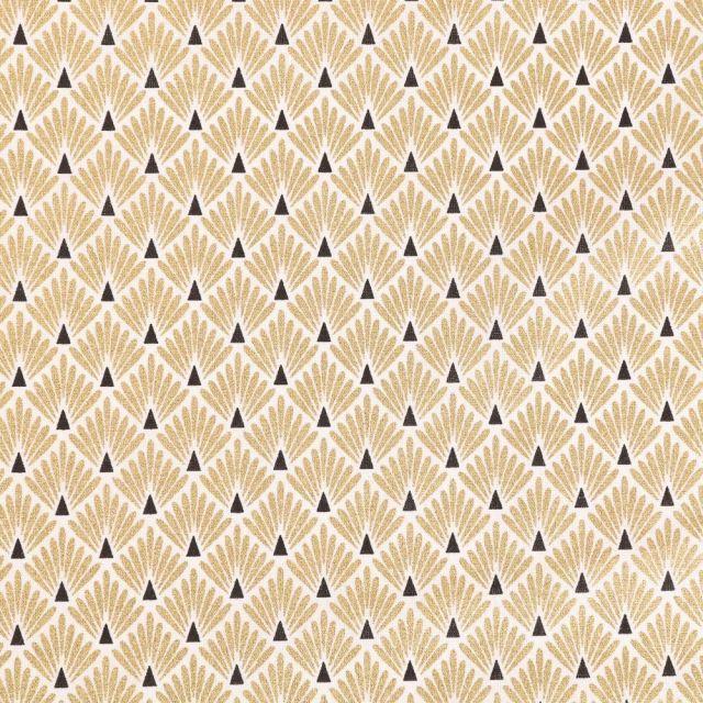 Tissu Coton Imprimé Arty Ecailles Dorées sur fond Blanc - Par 10 cm