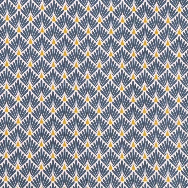 Tissu Coton Imprimé Arty Ecailles Bleues sur fond Blanc - Par 10 cm
