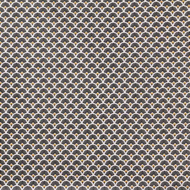 Tissu Coton Imprimé Arty Eventails Noirs - Par 10 cm