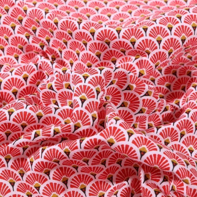 Tissu Coton Enduit Eventails Rouges - Par 10 cm