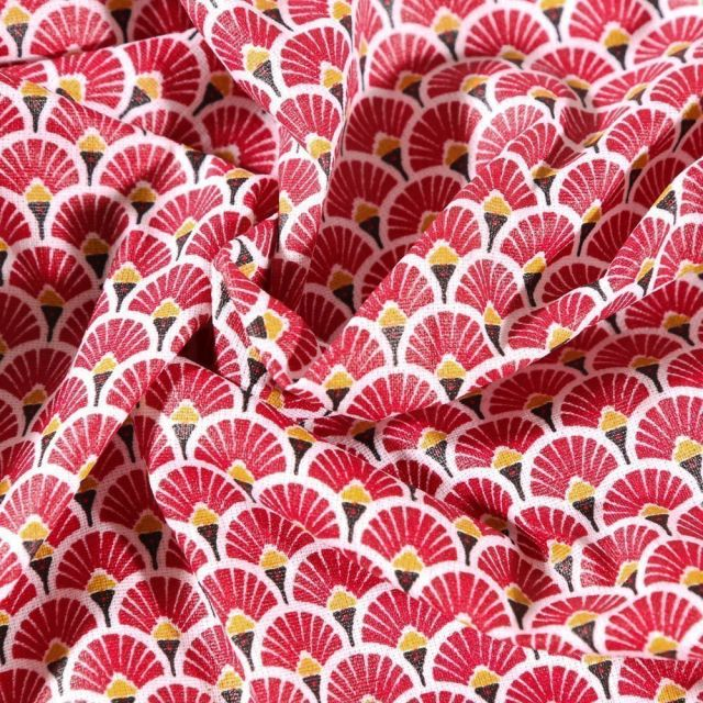 Tissu Coton enduit Arty Éventails rouge sur fond Blanc - Par 10 cm