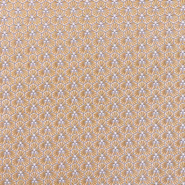 Tissu Coton Enduit Riad Doré - Par 10 cm