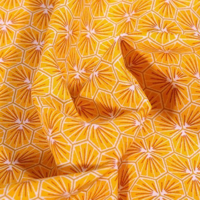 Tissu Coton imprimé Arty Riad sur fond Jaune curry - Par 10 cm
