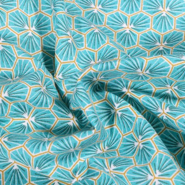 Tissu Coton imprimé Arty Riad sur fond Bleu lagon - Par 10 cm
