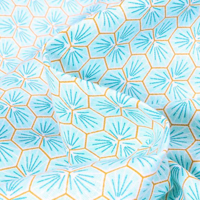 Tissu Coton imprimé  Arty Riad sur fond Vert menthe