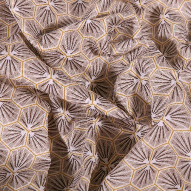 Tissu Coton enduit Riad sur fond Gris - Par 10 cm
