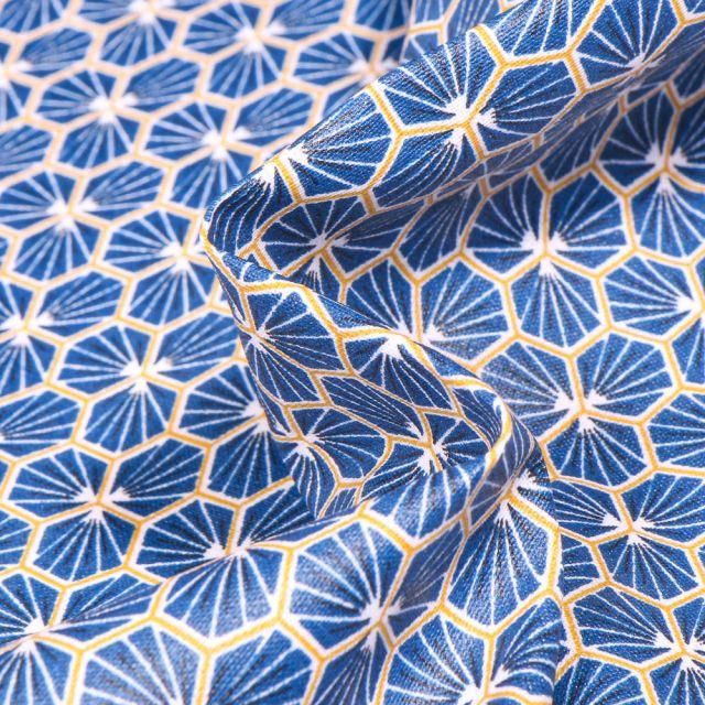 Tissu Coton enduit Riad sur fond Bleu roi