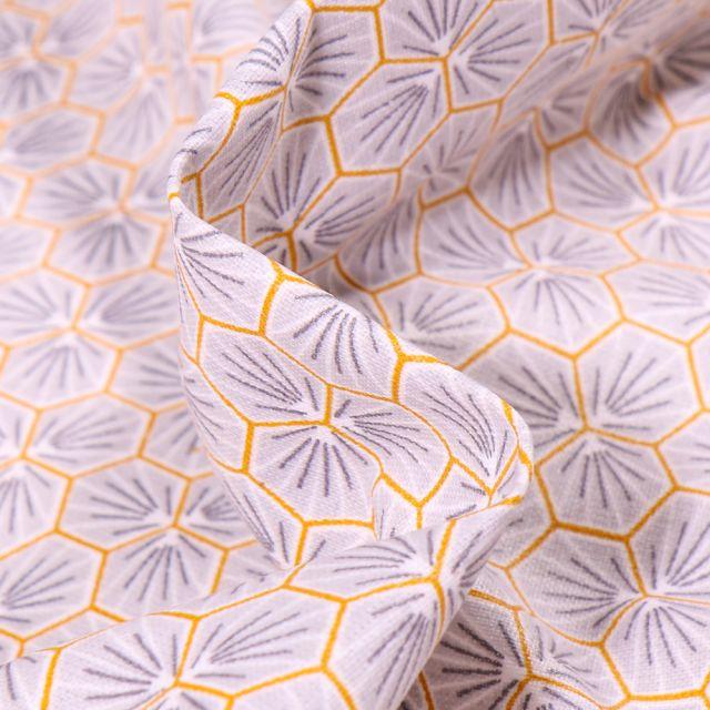 Tissu Coton enduit Riad sur fond Gris clair