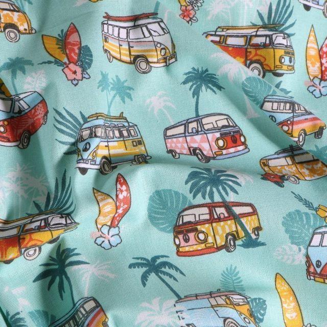Tissu Coton imprimé Arty Combi Hawaï sur fond Bleu - Par 10 cm