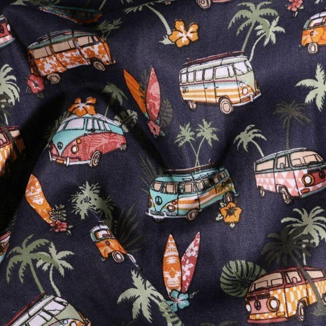 Tissu Coton imprimé Arty Combi Hawaï sur fond Bleu marine - Par 10 cm