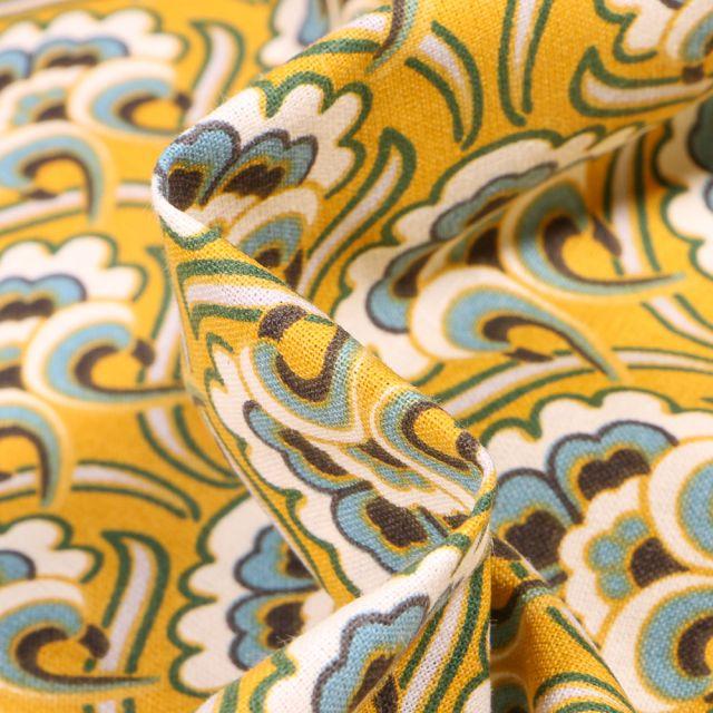 Tissu Coton imprimé Arty Arabesques fleurs sur fond Jaune