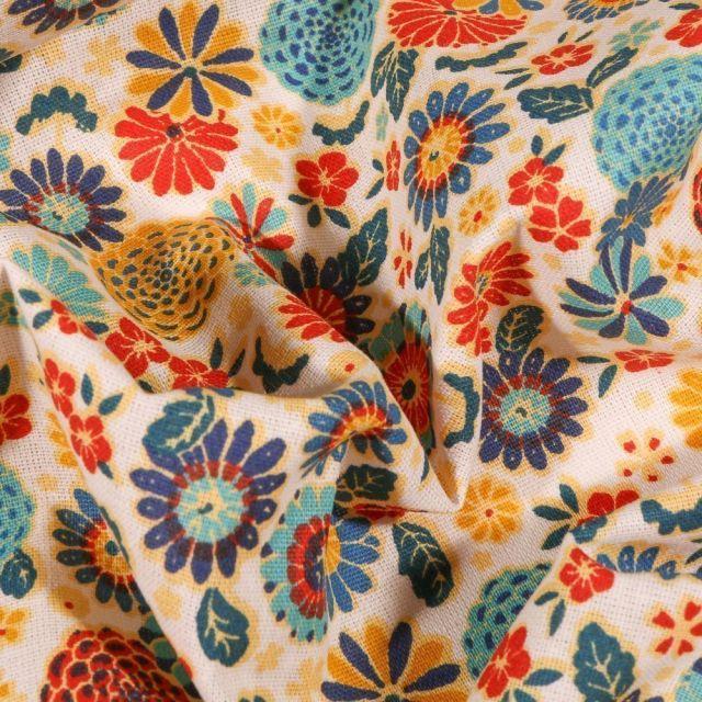 Tissu Coton imprimé Arty Fleurs sur fond Blanc cassé - Par 10 cm