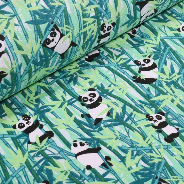 Tissu Coton imprimé Arty Panda et bambou vert sur fond Blanc - Par 10 cm