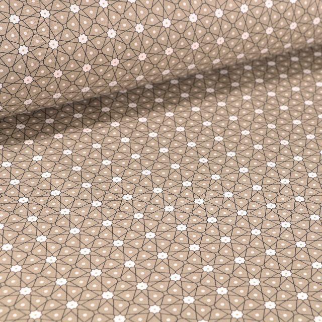 Tissu Coton imprimé Arty Etoiles et pois sur fond Taupe - Par 10 cm