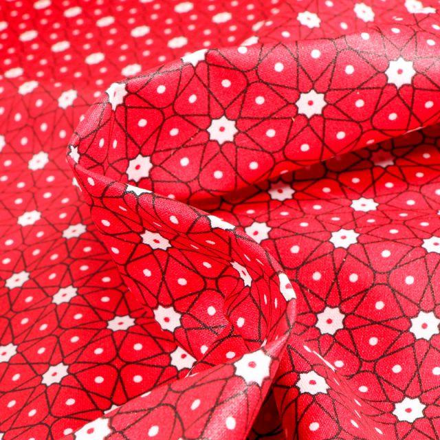 Tissu Coton enduit Etoiles et pois sur fond Rouge griotte