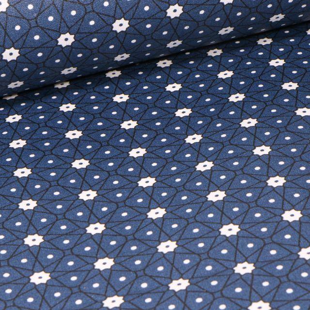 Tissu Coton enduit Etoiles et pois sur fond Bleu marine