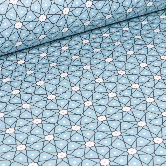 Tissu Coton enduit Etoiles et pois sur fond Bleu ciel