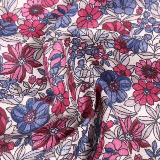 Tissu Coton imprimé Arty Bouton d'or rose et violet sur fond Blanc - Par 10 cm