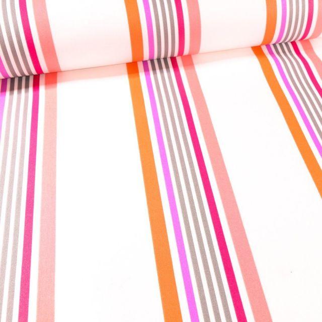 Tissu Coton enduit Playa rose sur fond Blanc - Par 10 cm