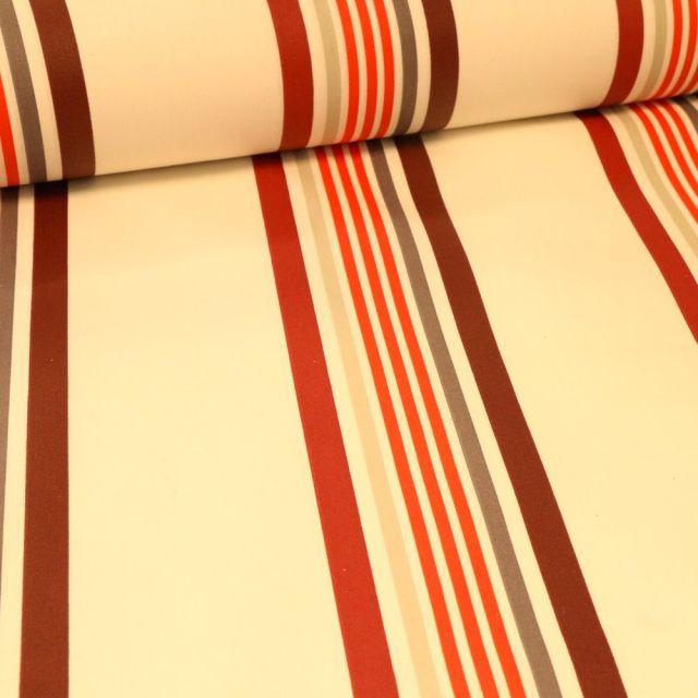 Tissu Coton enduit Playa rouge sur fond Blanc - Par 10 cm