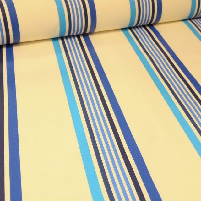 Tissu Coton enduit Playa bleu sur fond Blanc - Par 10 cm