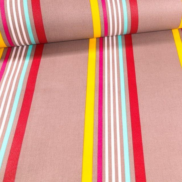 Tissu Coton enduit Playa turquoise sur fond Gris - Par 10 cm