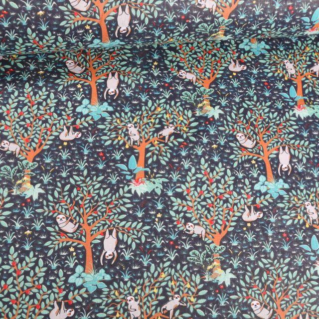 Tissu Coton imprimé Arty Paresseux fleuris sur fond Bleu marine - Par 10 cm