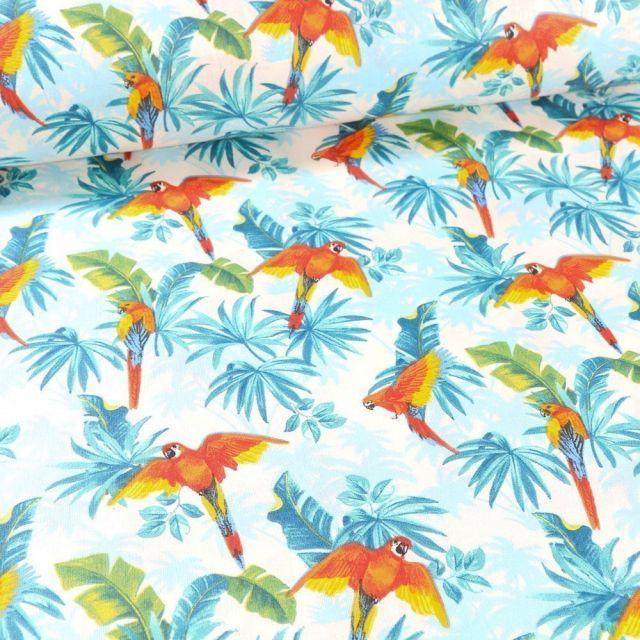 Tissu Coton imprimé Arty Tropico sur fond Blanc - Par 10 cm