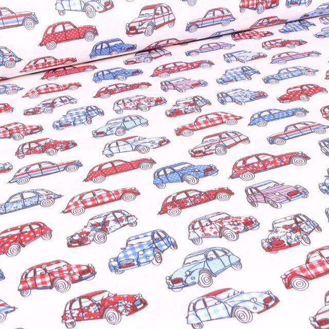 Tissu Coton imprimé Arty Dedeuche bleu blanc rouge sur fond Blanc