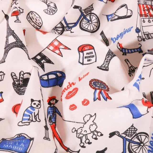 Tissu Coton enduit France sur fond Blanc - Par 10 cm