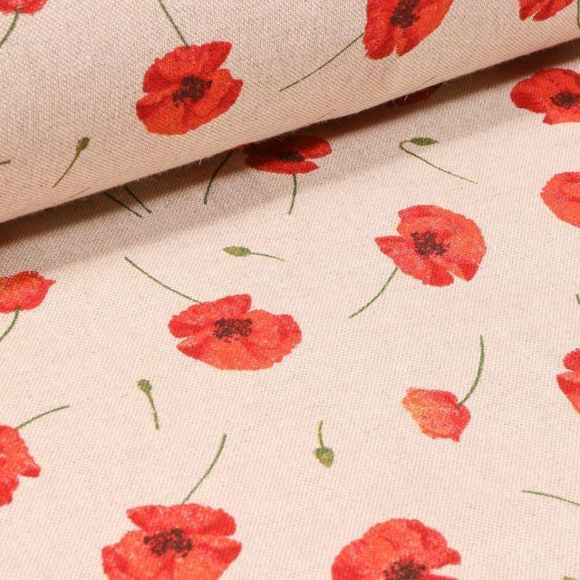 Tissu Toile Coton Coquelicots sur fond Naturel - Par 10 cm