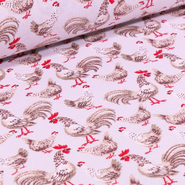Tissu Coton imprimé Coq beige sur fond Blanc