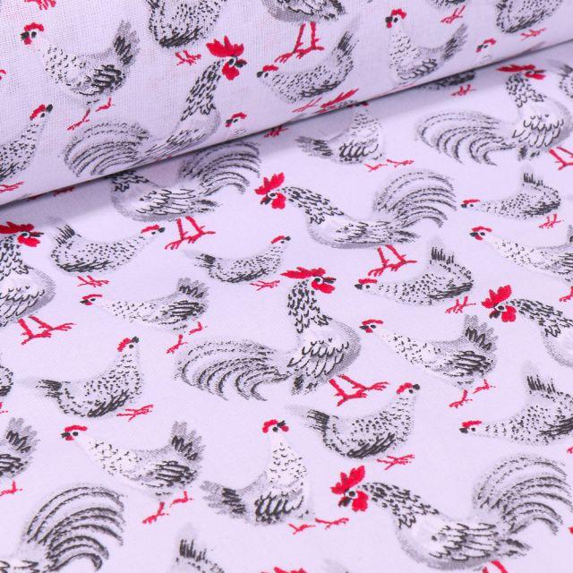 Tissu Coton imprimé Coq gris sur fond Blanc