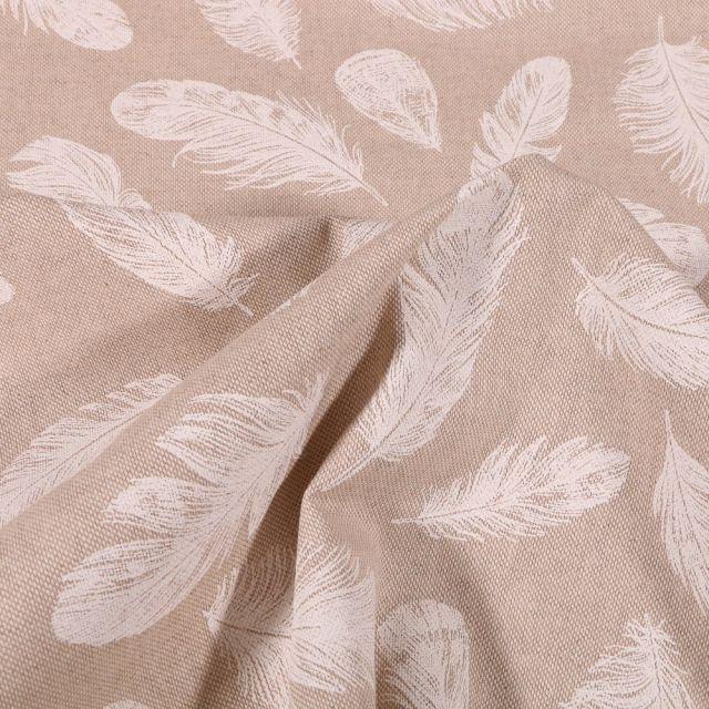 Tissu Toile Coton Plumes blanches sur fond Naturel - Par 10 cm