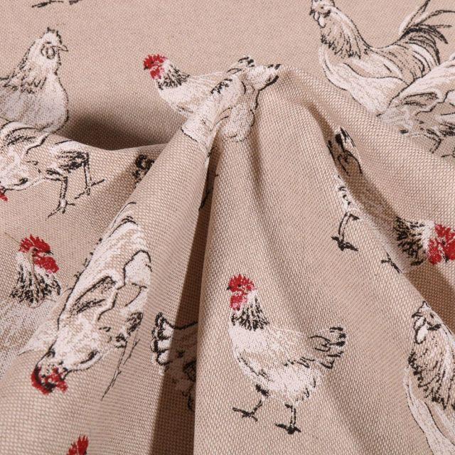 Tissu Toile Coton Poules Blanches sur fond Naturel - Par 10 cm