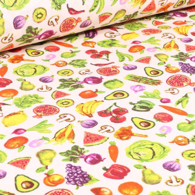 Tissu Coton imprimé Arty Fruits et légumes sur fond Blanc