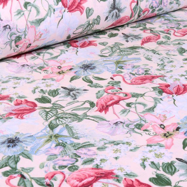 Tissu Coton imprimé Arty Florida sur fond Blanc cassé