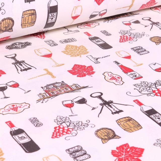 Tissu Coton enduit Arty Vignobles sur fond Blanc