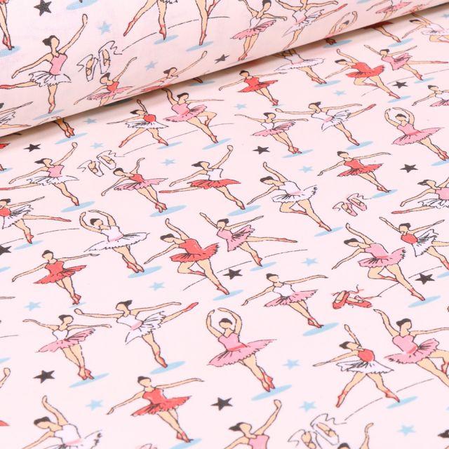 Tissu Coton enduit Danse classique sur fond Blanc