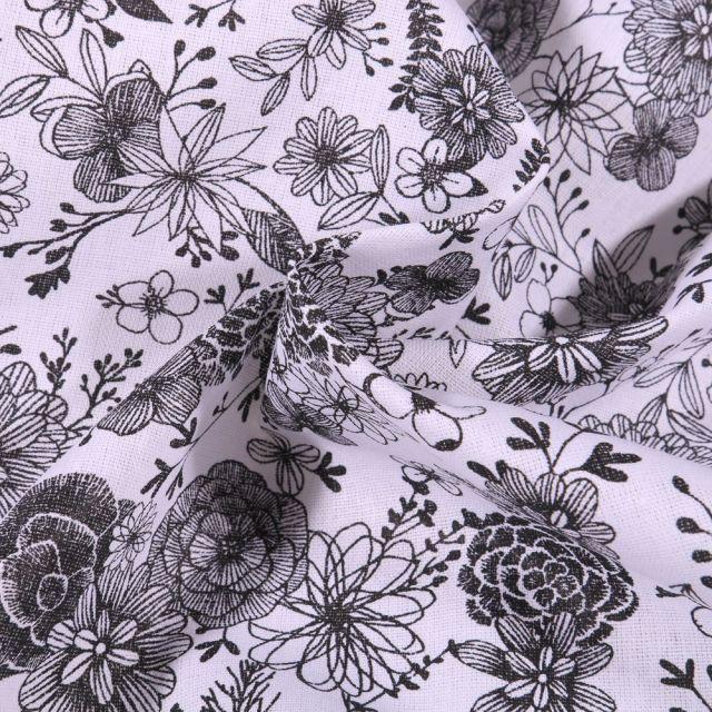 Tissu Coton imprimé Arty Fleurs black & white sur fond Blanc - Par 10 cm