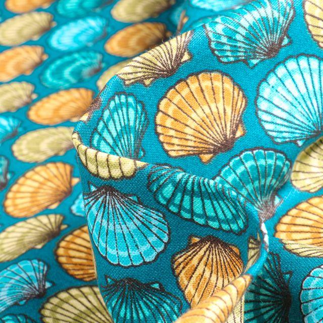 Tissu Coton imprimé Arty St Jacques sur fond Jaune curry