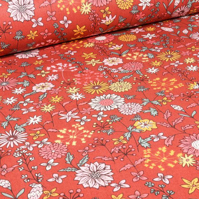 Tissu Coton imprimé Arty Valentine sur fond Terracotta