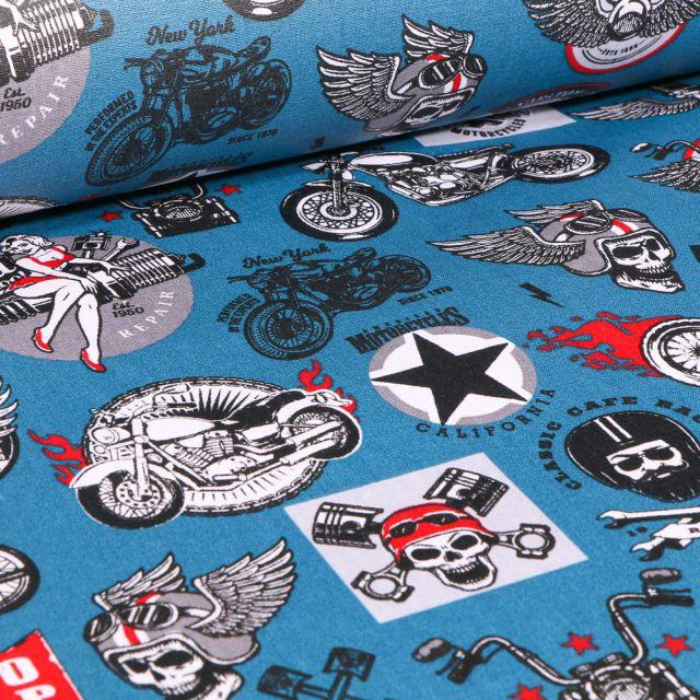 Tissu Coton enduit Rider sur fond Bleu