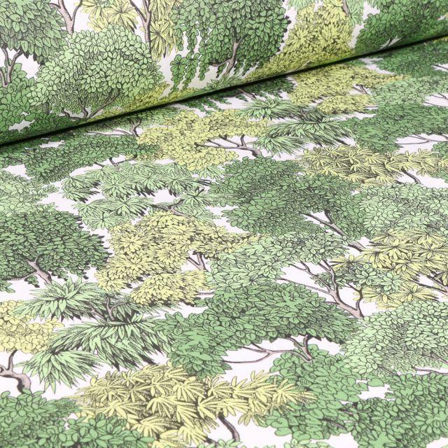 Tissu Coton imprimé Arty Fontainebleau sur fond Vert
