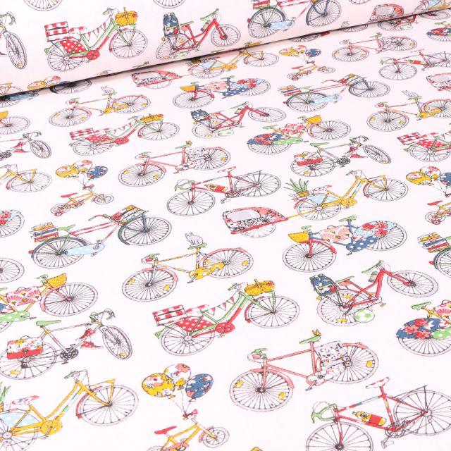 Tissu Coton imprimé Arty Bicyclette jaune et rouge sur fond Blanc