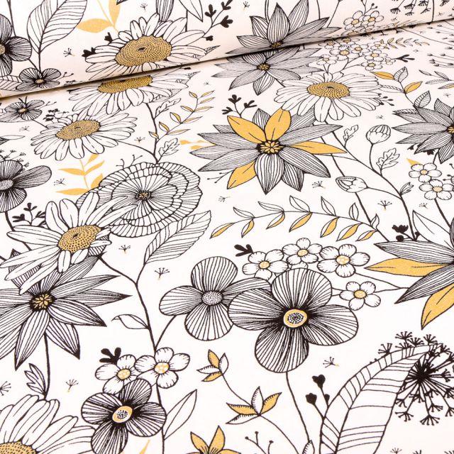 Tissu Toile de Coton Fleurs noires blanches et dorées sur fond Blanc