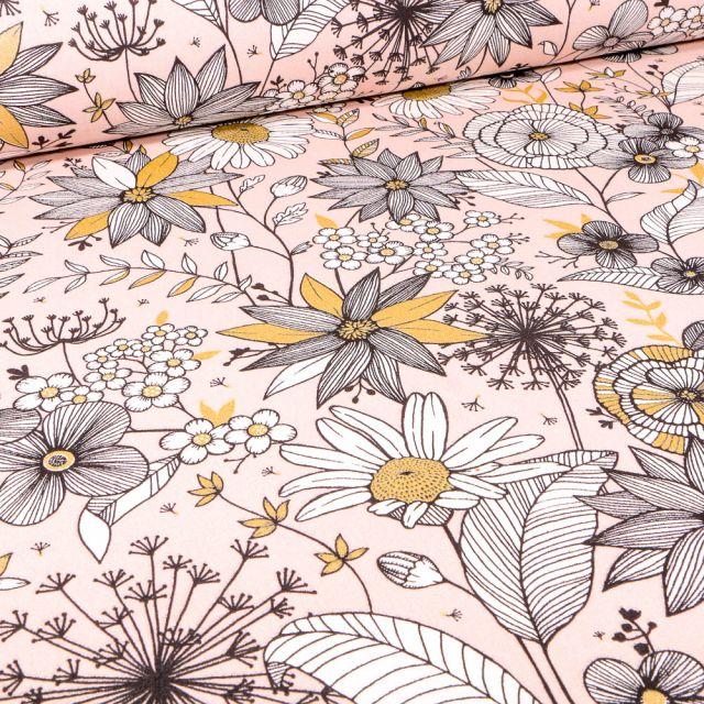 Tissu Toile de Coton Fleurs noires blanches et dorées sur fond Rose pâle